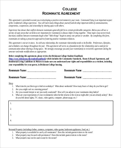 Sample Roommate Agreement Form - 9+ Examples in Word, PDF