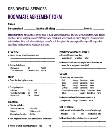 Roommate Agreement Form Bc Best Resumes Curiculum Vitae And - roommate agreement form