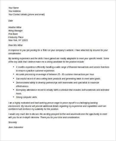7+ Sample Bank Teller Cover Letters Sample Templates