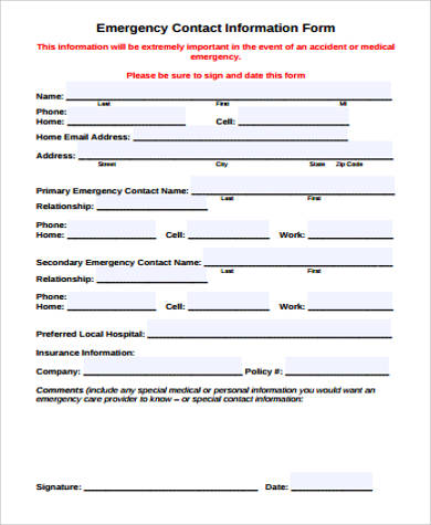 12+ Sample Contact Information Forms Sample Templates - contact information form