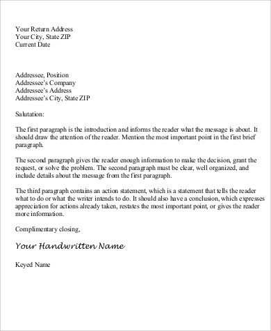 Personal Business Letter Sample - 6+ Examples in Word, PDF