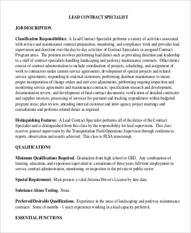 9+ Contract Specialist Job Description Samples Sample Templates