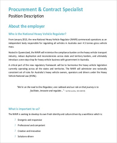 9+ Contract Specialist Job Description Samples Sample Templates