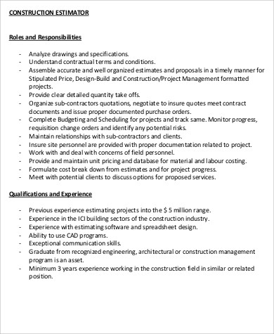 Superb Good Construction Job Description Sample 11+ Examples In Word, PDF Job  Qualifications Amazing Design