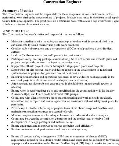 11+ Construction Job Description Samples Sample Templates