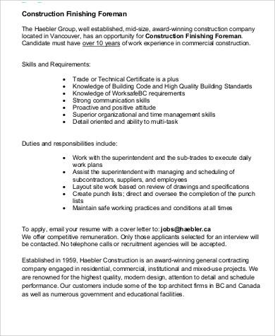 Construction Job Description Construction Job Description Resume