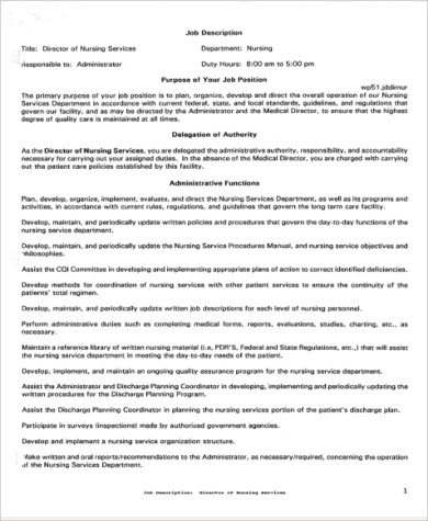 Director of Nursing Job Description Sample - 9+ Examples in Word, PDF - director of nursing job description