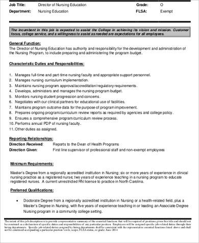 Director of Nursing Job Description Sample - 9+ Examples in Word, PDF - nurse job description