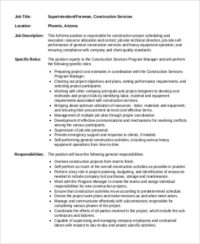 9+ Construction Superintendent Job Description Samples Sample - construction job description