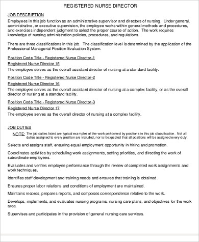 9+ Director of Nursing Job Description Samples Sample Templates