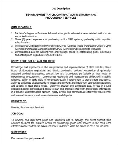 8+ Contract Administrator Job Description Samples Sample Templates - purchasing manager job description
