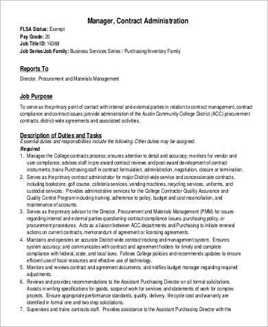 Contract Administrator Job Description Sample - 8+ Examples in PDF