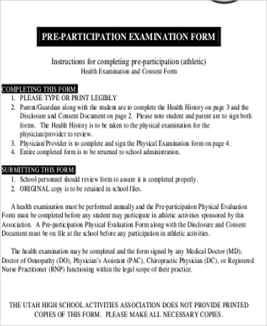 Sample School Physical Form - 7+ Examples in Word, PDF - physical exam form