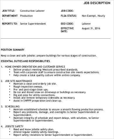 Laborer Job Description Cover Letter General Laborer Resume