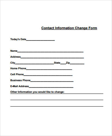 Sample Contact Information Form - 12+ Examples in Word, PDF - sample contact sheet