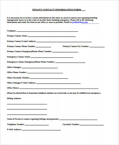 12+ Sample Contact Information Forms Sample Templates - Tenant Information Form