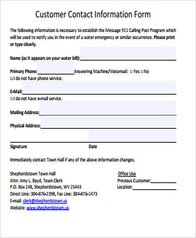 12+ Sample Contact Information Forms Sample Templates