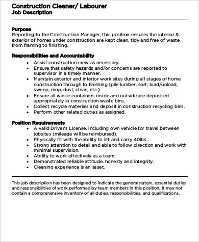Construction Worker Job Description Construction Worker Job