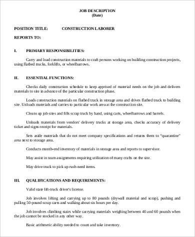 8+ Construction Laborer Job Description Samples Sample Templates - construction job description