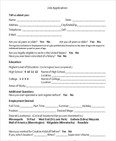 Sample Basic Job Application - 9+ Examples in Word, PDF