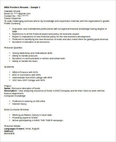 6+ Sample MBA Marketing Resumes Sample Templates