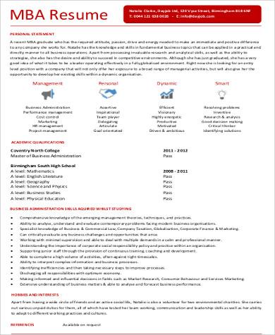 6+ Sample MBA Marketing Resumes Sample Templates