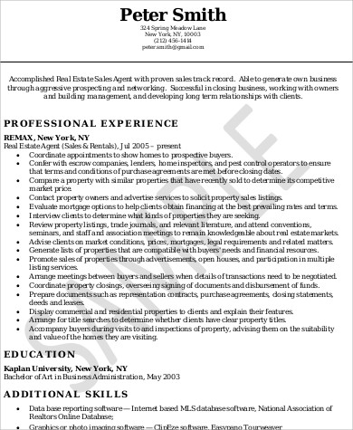 Sample Real Estate Agent Resume - 6+ Examples in Word, PDF