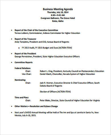 9+ Sample Business Meeting Agenda Sample Templates