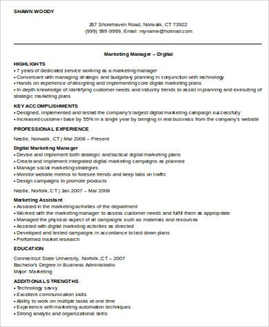 8+ Sample Digital Marketing Resumes Sample Templates - digital marketing manager resume