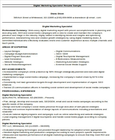8+ Sample Digital Marketing Resumes Sample Templates - market specialist sample resume