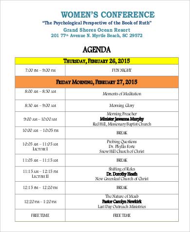 9+ Sample Conference Agenda Sample Templates - conference agenda