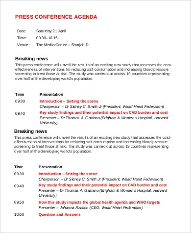 Sample Conference Agenda - 9+ Examples in PDF, Word