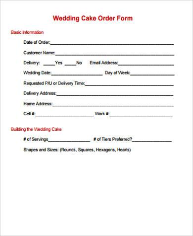7+ Cake Order Form Samples Sample Templates - cake order forms