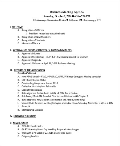 8+ Sample Meeting Agenda Format Sample Templates