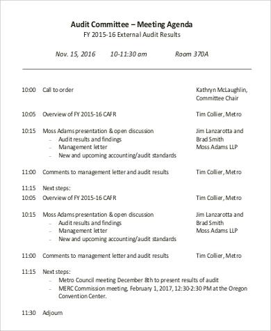 8+ Sample Meeting Agenda Format Sample Templates