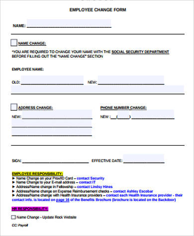 11+ Sample Employee Change Forms Sample Templates