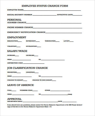 11+ Sample Employee Change Forms Sample Templates - employee change form