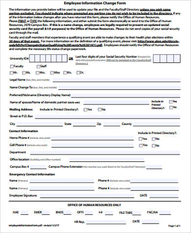 11+ Sample Employee Change Forms Sample Templates - employee info form