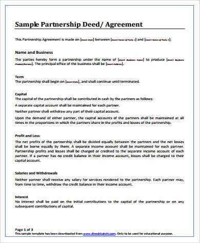 free charity partnership agreement the page breaks shown on this