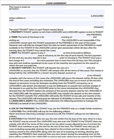 ... 10+ Sample Lease Agreement   Free Sample, Example, Format   Blank Lease  Agreement ...