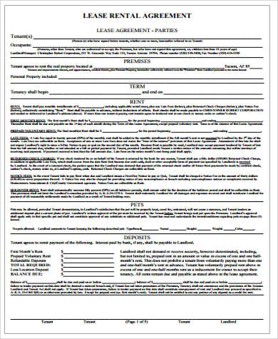 10+ Sample Lease Agreements Sample Templates - lease rental agreement
