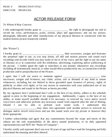 7+ Actor Release Form Samples Sample Templates - actor release forms