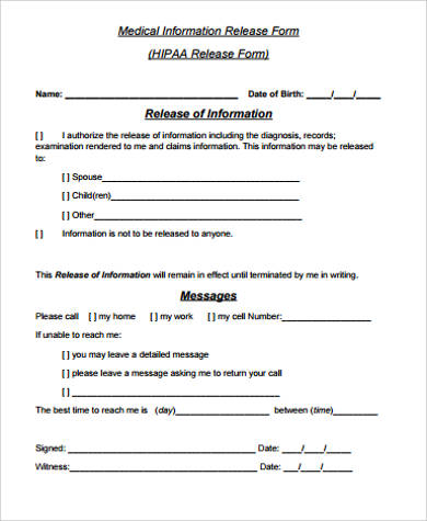 9+ Medical Release Form Samples Sample Templates - Medical Information Release Form
