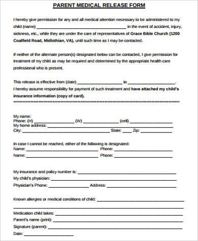 9+ Medical Release Form Samples Sample Templates