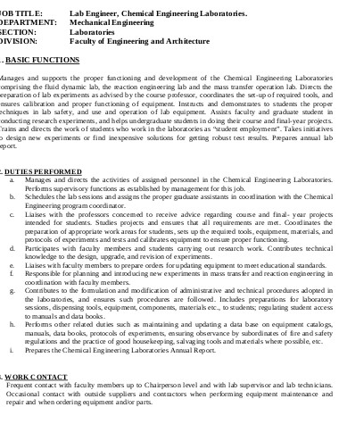 Chemical Engineering Job Description Sample - 10+ Examples in Word, PDF