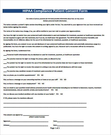 8+ HIPAA Consent Form Samples Sample Templates