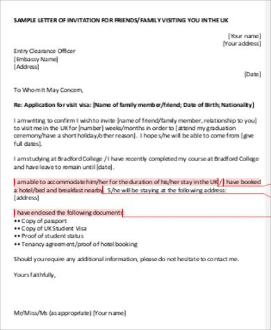9+ Sample Invitation Letters for Visa \u2013 PDF, Word Sample Templates