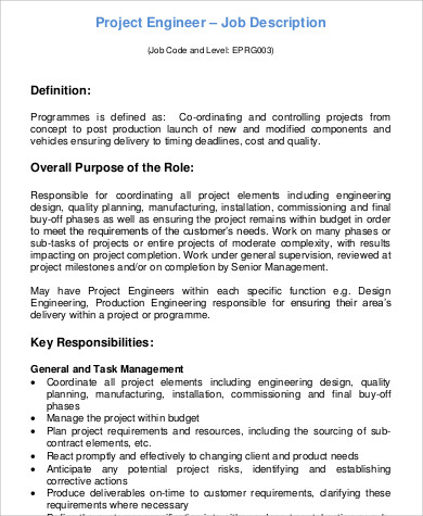 9 Sample Engineer Job Description Free Sample Example Format Design Engineer    Production Engineering Job