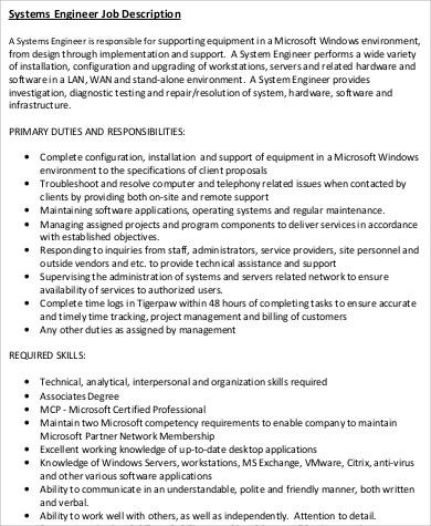 9+ Sample Engineer Job Descriptions Sample Templates - systems engineer job description