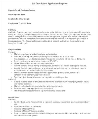 9+ Sample Engineer Job Descriptions Sample Templates